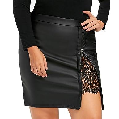 2f27d318bc4b2 LuckyGirls Femmes en Cuir Dentelle Jupe Mode Fermeture éclair Noir Casual  Droite Mini Jupe (Noir