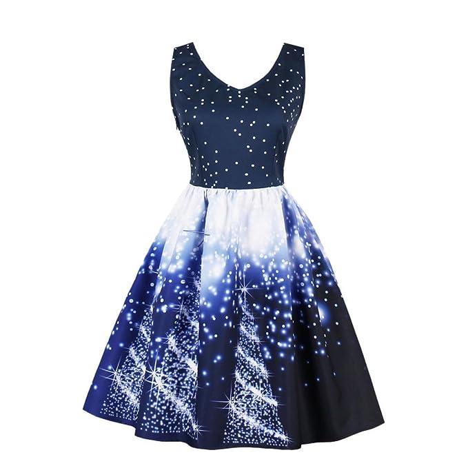 fanoud plus size womens santa christmas party dress vintage xmas swing skater dress blue