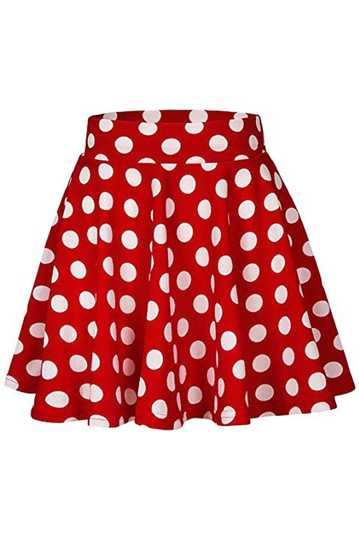 Vemubapis Faldas Plisadas Vintage Falda Patinadora Lunares ...