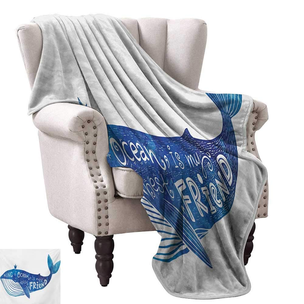 color09 60\ WinfreyDecor Whale Reversible Blanket Kind of Ocean is My Best Friend Quote with Whale Fish Paintbrush Artsy Picture All Season Premium Bed Blanket 60  Wx60 L purple bluee White