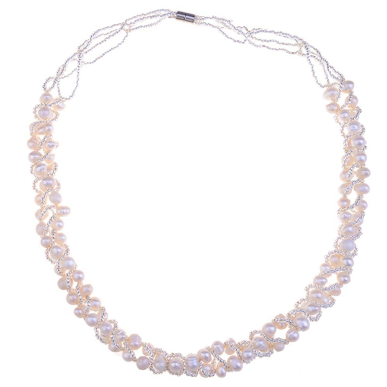 100559 Lureme Womens Culture Pearl and Small Balls Cream Pearl Necklace