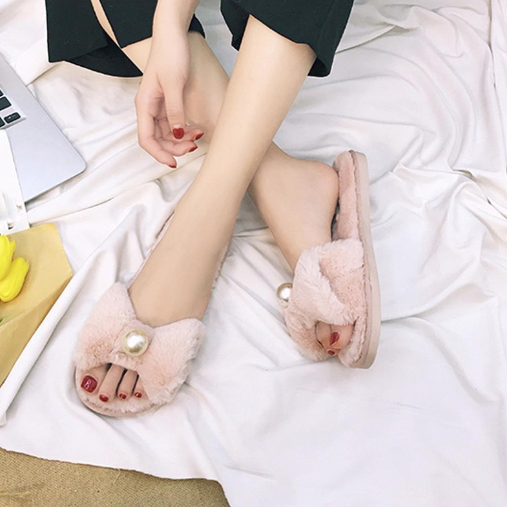a54829a077d5 Rawdah Claquette Femme Glissez sur Les Diapositives Fluffy en Fausse  Fourrure Plat Slipper Flip Flop Sandal Tongs Chaussures (35 EU