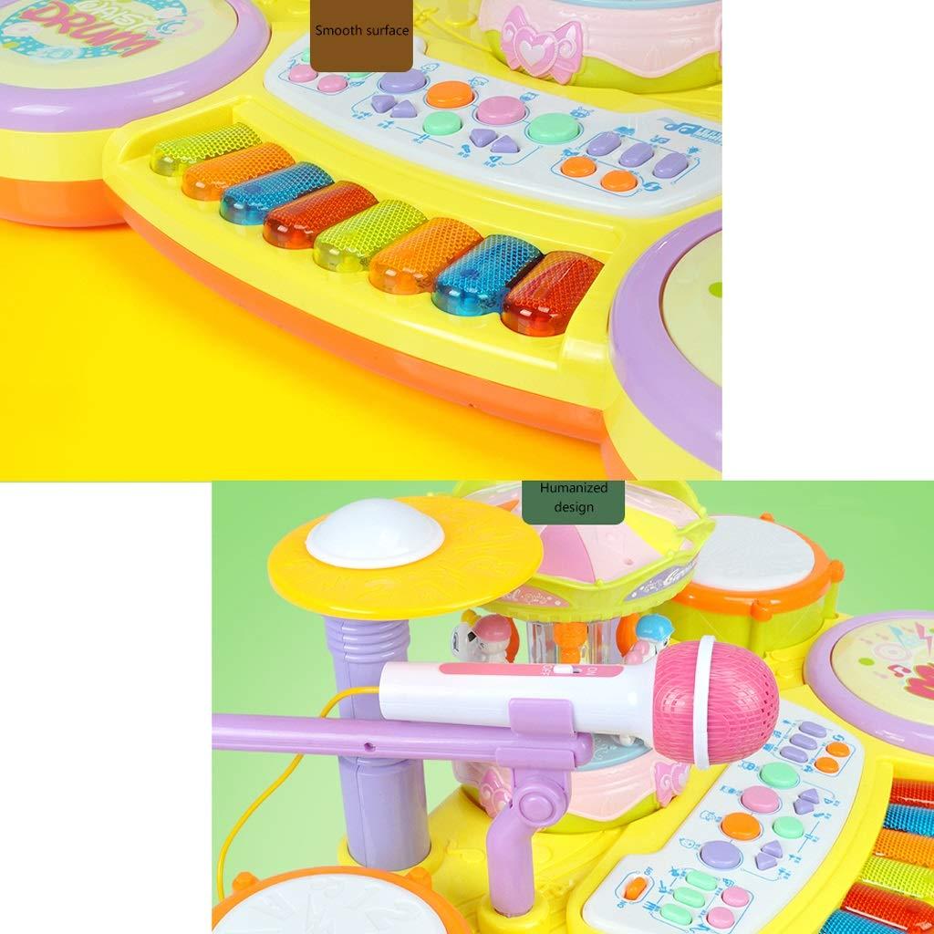 color : B HXGL-Drum Drum Kit Toy Children 3-6 Years Old Beginners