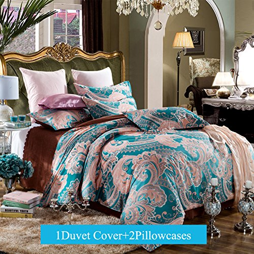 Boho Bedding Duvet Cover Sets Full Queen Size 3-pieces Microfiber, Blue Jaipur Exotic Prints,Without Comforter