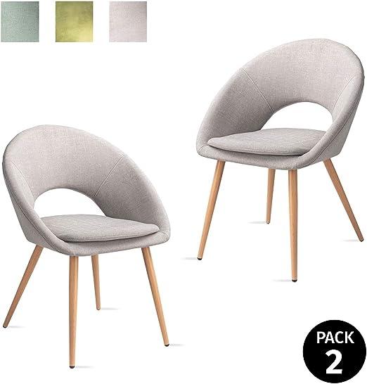 Verde 46x43x82cm Mc Haus Pack 2 sedie Laguna nordico  mela salone sala pranzo