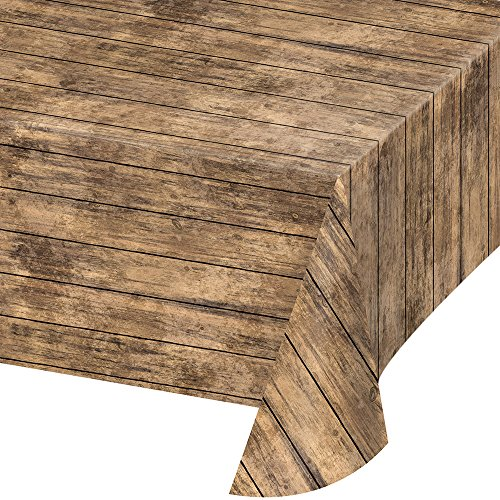 Creative Converting 329655 All Over Print Plastic Tablecover, Brown Wood - Pattern Wood Brown