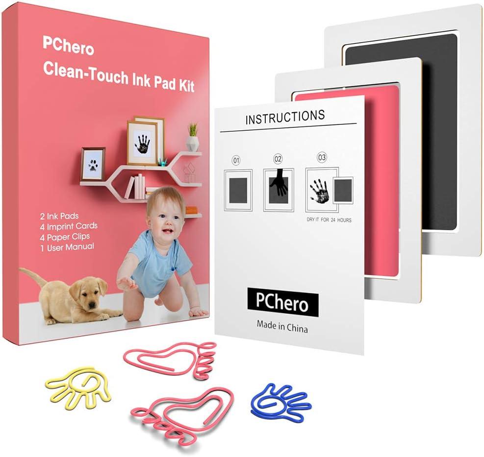 Noir + Rose, A Kits dencre pour Empreintes de Pattes pour un Cadeau de Naissance de 0 /à 6 Mois PChero Tampons Encreurs Clean-Touch pour Empreintes de Main et Empreintes de B/éb/é