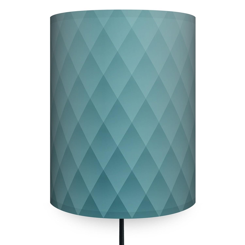 anna wand Wandlampe RAUTEN BLAUGRAU – Wandlampe in grafischem Design, Blaugrautöne, Lampenschirm mit schwarzem Stoffkabel – Sanftes Licht im Wohnzimmer, Schlafzimmer, Esszimmer, Flur