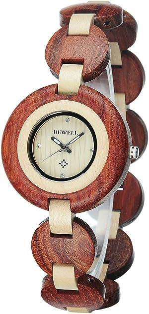 BEWELL Wood Watch Women Handmade Lightweight Analog Quartz Dress Wrist Watches with Wooden Bracelet