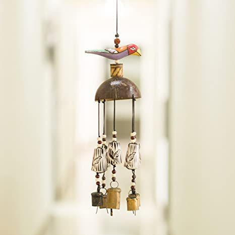 ExclusiveLane Bird Home Decorative Wind Chime Cum Outdoor Garden Wall Hanging with Kutchh Bells (Multicolour, Wood)
