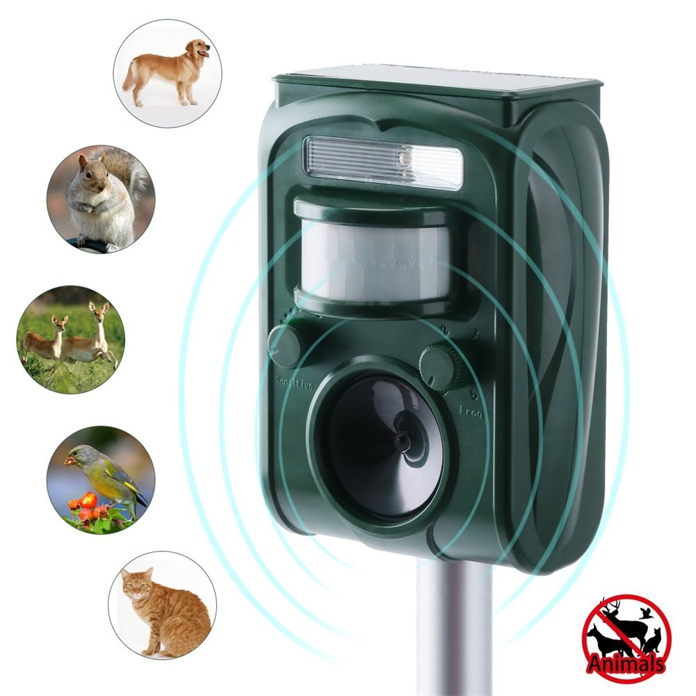 DBoer Animal Repellent Outdoor Solar Animal Repeller Waterproof with Ultrasonic Sound and Flashing Light,Rabbit Repellent,Squirrel Repellent,Cat Repellent Dog Repellent for Farm Garden Yard