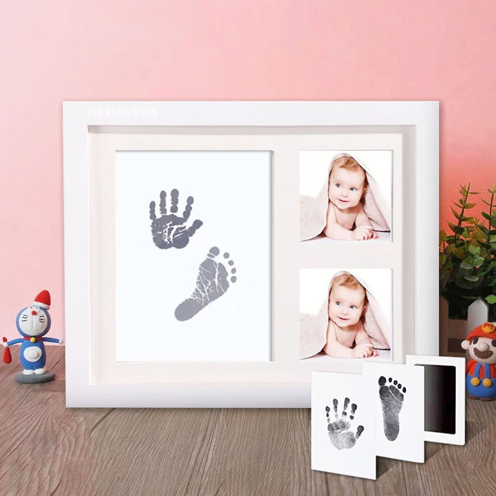 Funwill Baby Handprint & Footprint Picture Frame Kit for Newborn Girls and Boys,Mom Dad Best Gifts Wall Photo Decoration