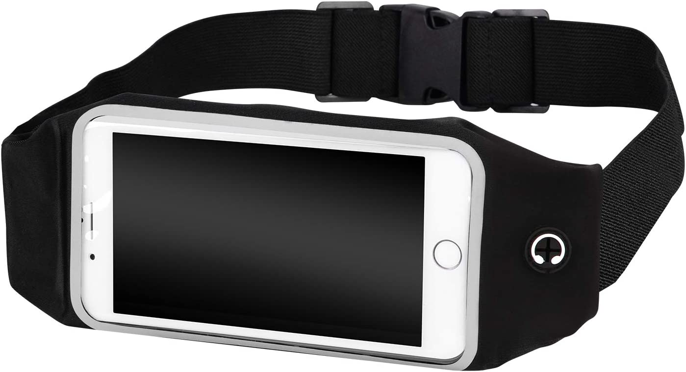 Runner Waist Pack Running Belts, Water Resistant Fanny Pack for iPhone Xs and All Phone Models, Screen Touch Phone Holder Running Pouch for Hands Free Workout, Fitness, Travel