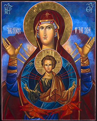 Our Lady of Theotokos Icon Madonna POSTER A2 print Virgin Mary Russian Orthodox Byzantine Christian Catholic Religious Holy Wall Art for Home Room Church Chapel