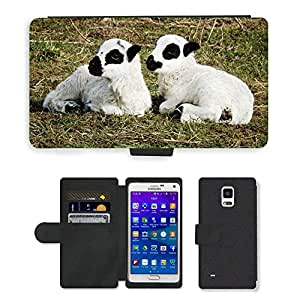 Hot Style Cell Phone Card Slot PU Leather Wallet Case // M00109125 Sheep Lamb Lambs Meadow Cute Wool // Samsung Galaxy Note 4 IV