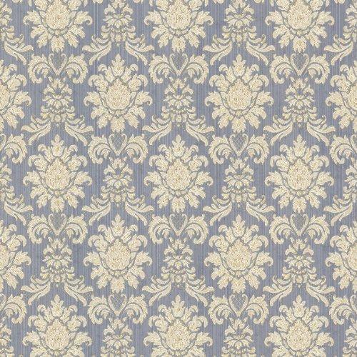 (Mirage 993-68654 Romeo Damask Wallpaper, Blue )