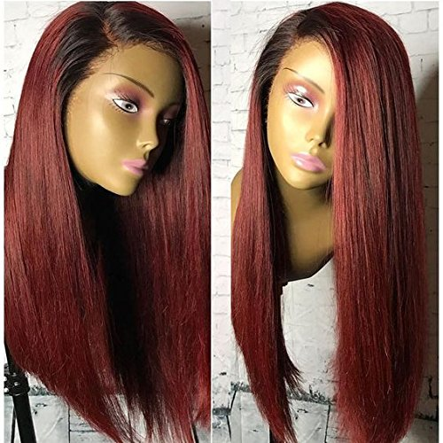 Human Hair Straight full lace wig 100% Real Brazilian Hair Ombre Black Roots 1B 99J Color 130% Density Wig For Black Women (20'', lace frontal wig) by Dreambeauty (Image #2)