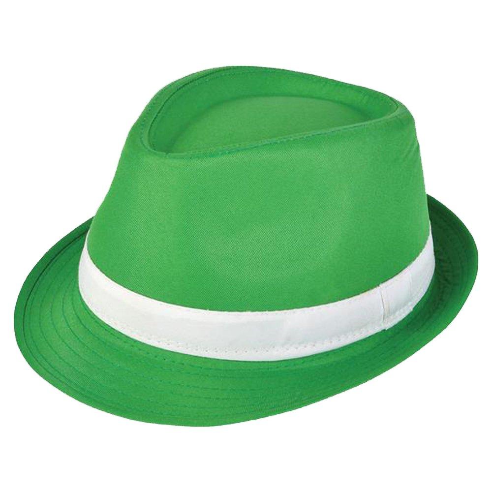 RINCO St Patricks Day Irish Kelly Neon Crazy Green Shamrock Fedora Hat Rhode Island Novelty