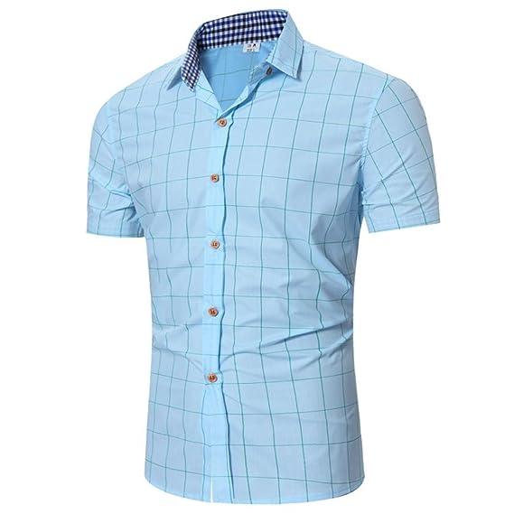 Cinnamou Plaid Shirt, Camisa para Hombre Mangas Corta Blusas Verano Tops Talla Grande