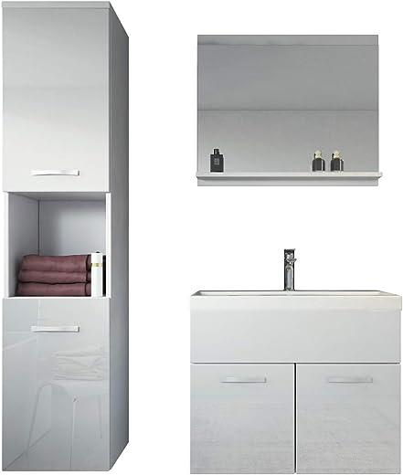 Badezimmer Badmöbel Montreal 60 cm Waschbecken Hochglanz Weiß Fronten - Unterschrank Hochschrank Waschtisch Möbel 1