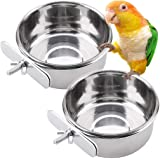 PIVBY Parrot Feeding Cups Birds Food Dish Stainless Steel Parrot Feeders Water Cage Bowls with Clamp Holder for Cockatiel Conure Budgies Parakeet Parrot Macaw Small Animal Chinchilla Pack of 2
