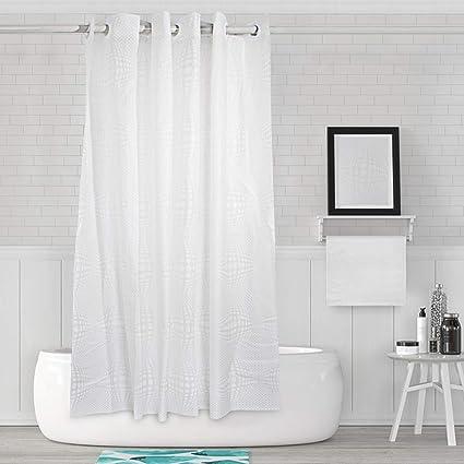 LIANGUS Hook Free Shower Curtain Waterproof Liner Mildew Resistant Hookless Bathroom Washable