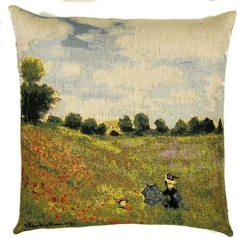 Luana Keale Poppy Field Jacquard Woven Tapestry Throw Pillow Cases, Claude Monet Art Lovers Decorative Gifts, Famous Painting Replicas Cushion Covers 18X18 Insert NOT Included