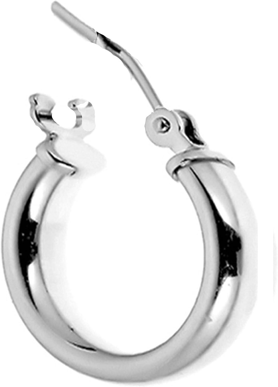 Unisex 14k Gold Square Tubular Huggie Huggy Hoop Single Earring 2mm x 11mm