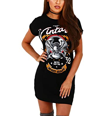 d962d3a7c1 MolVee Women s Short Sleeve Punk Print T-Shirt Dress Sexy Hole Mini Dress  Casual Tops