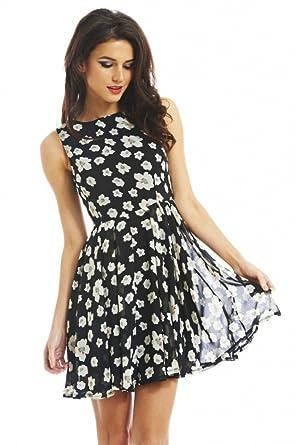 Hübsches Kleid mit Blumen muster Schwarz, Größe:S: Amazon.de: Bekleidung