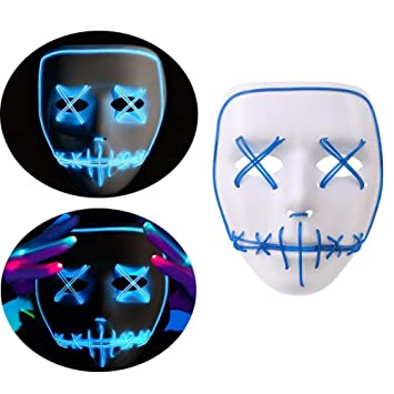 BIEE, Halloween Scary Maske, Halloween Cosplay LED Kostüm Maske EL ...
