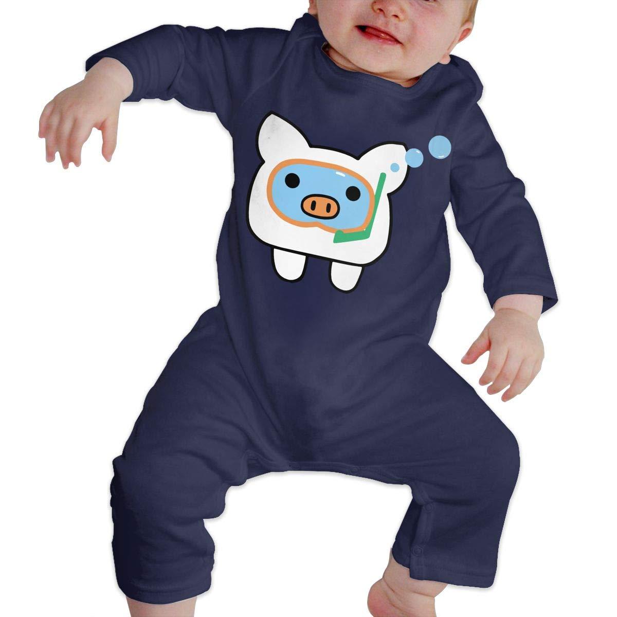 Newborn Baby Girls Boys Long Sleeve Bodysuit Comfortable Scuba Diving Pig Cotton Crawling Suit Suit