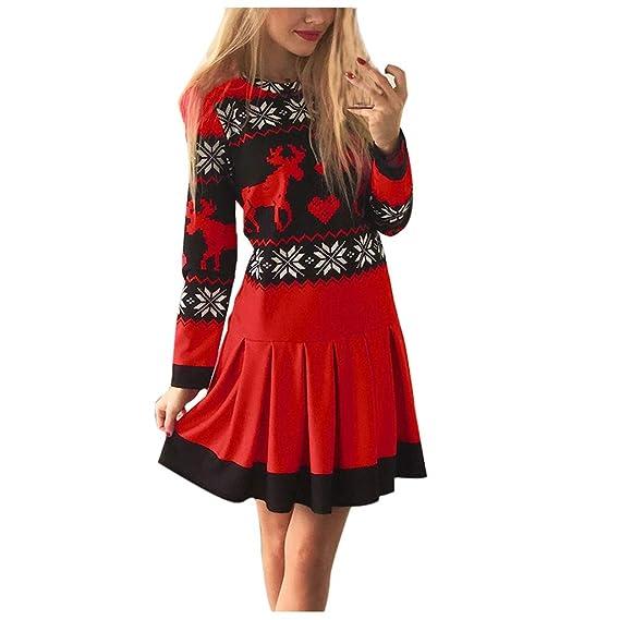 Vestido Navidad Mujer Vestidos Invierno Mujer de Manga Larga ...