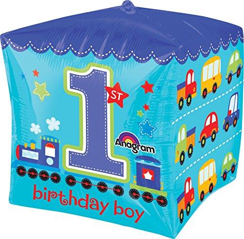 """Anagram International All Aboard 1st Birthday Boy Cube, 15"""", Multicolor"""