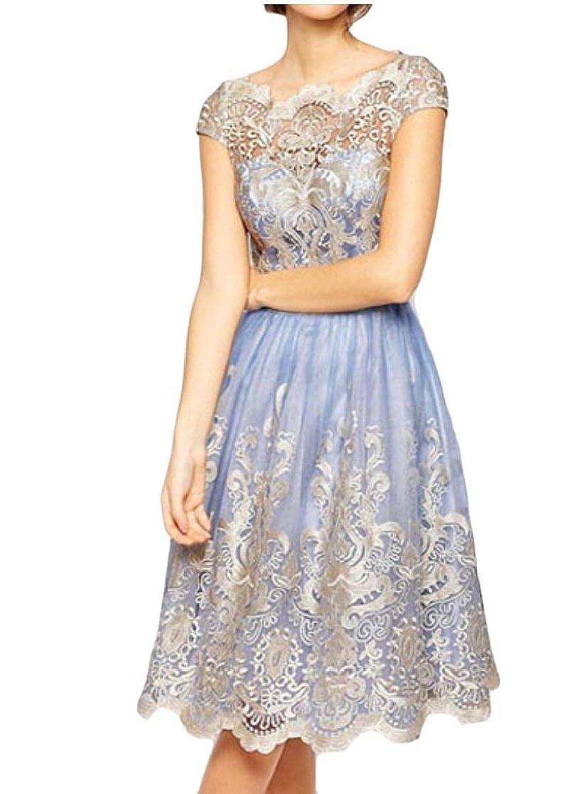 heymoney Womens Swing Dress Elegant Floral Lace Dress with Short Sleeve