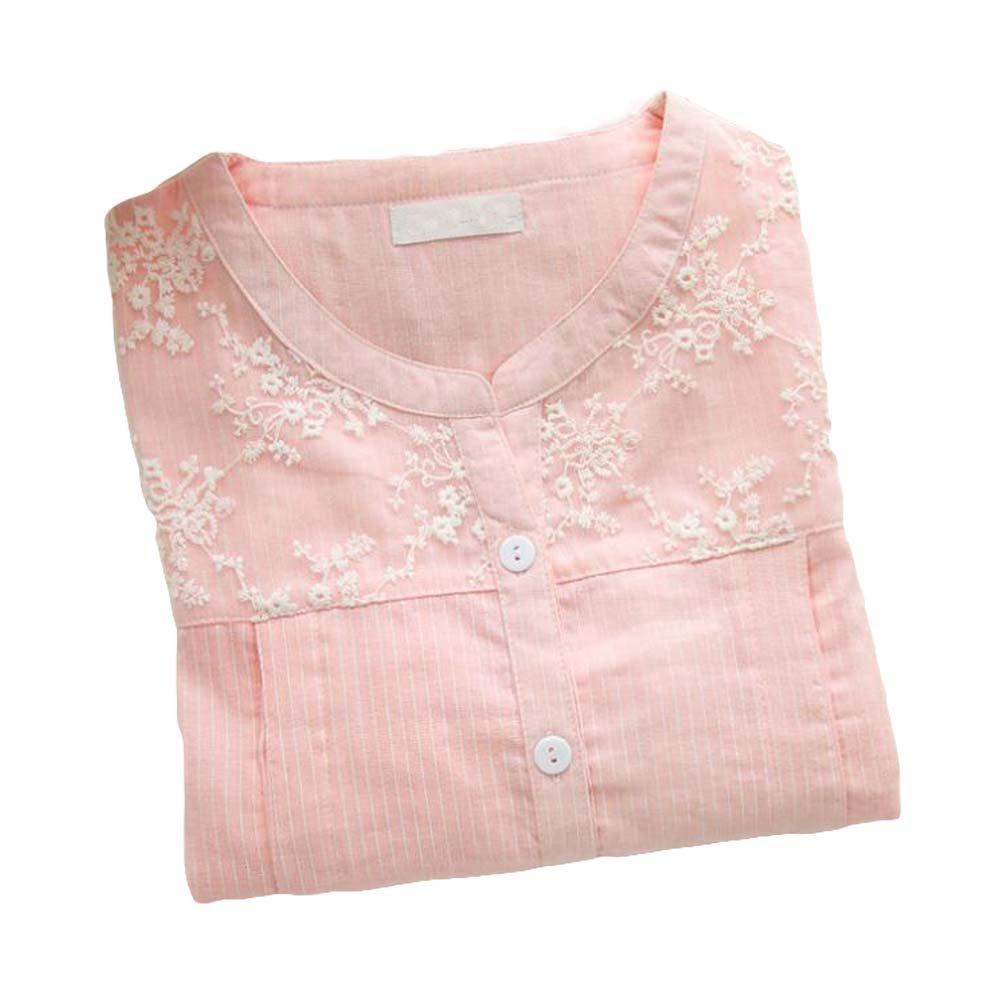 Panda Superstore [Pink Lace] Cotton Maternity Sleepwear Nursing Pajamas Set Breastfeeding Pajamas