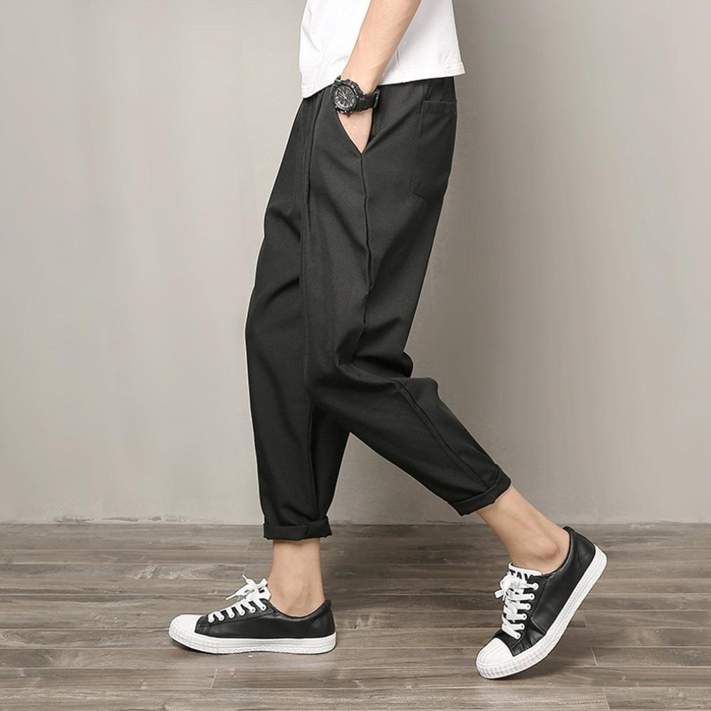 b34f7929994 Amazon.com  2018 Caopixx Men s Casual Slim Sports Pants Nine Trousers for Men  Baggy Harem Summer Pants  Clothing