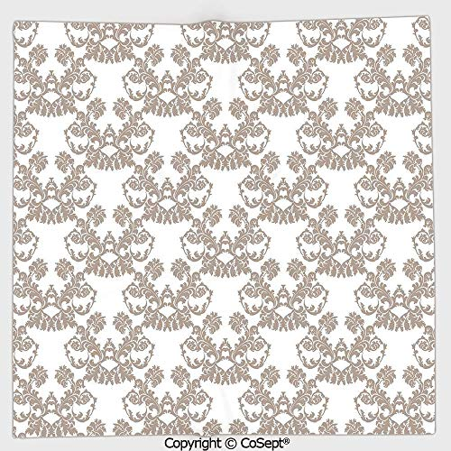 AmaUncle Lightweight Square Towel,Rococo Style Flourishing Flowers Imperial Pattern Old Fashioned Classy Tile Delicate,for Adults Girls Boys Women Men(13.77x13.77 inch),Taupe White -