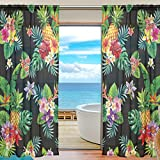SEULIFE Window Sheer Curtain, Tropical Pineapple Palm Leaves Flower Voile Curtain Drapes for Door Kitchen Living Room Bedroom 55x78 inches 2 Panels