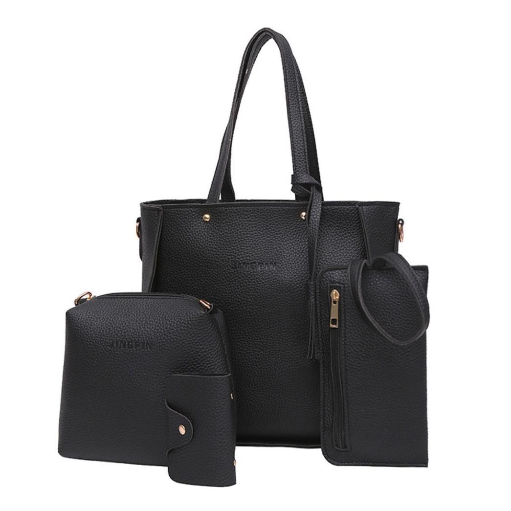 594fe5664015 KONFA Women Four Set Handbag Shoulder Bags Four Pieces Tote Bag Crossbody  Wallet (Black)