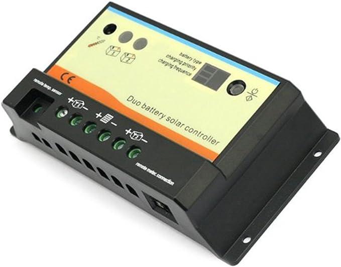 20A Dual Battery Solar Charge Controller Regulator for 12V or 24V Batteries gf