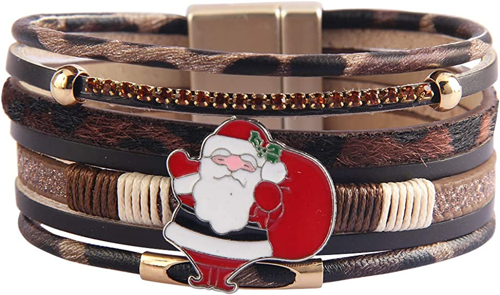 GelConnie Leopard Print Leather Wrap Bracelet Multi Layer Cuff Bracelet Magnetic Boho Bracelet for Women Mother Wife