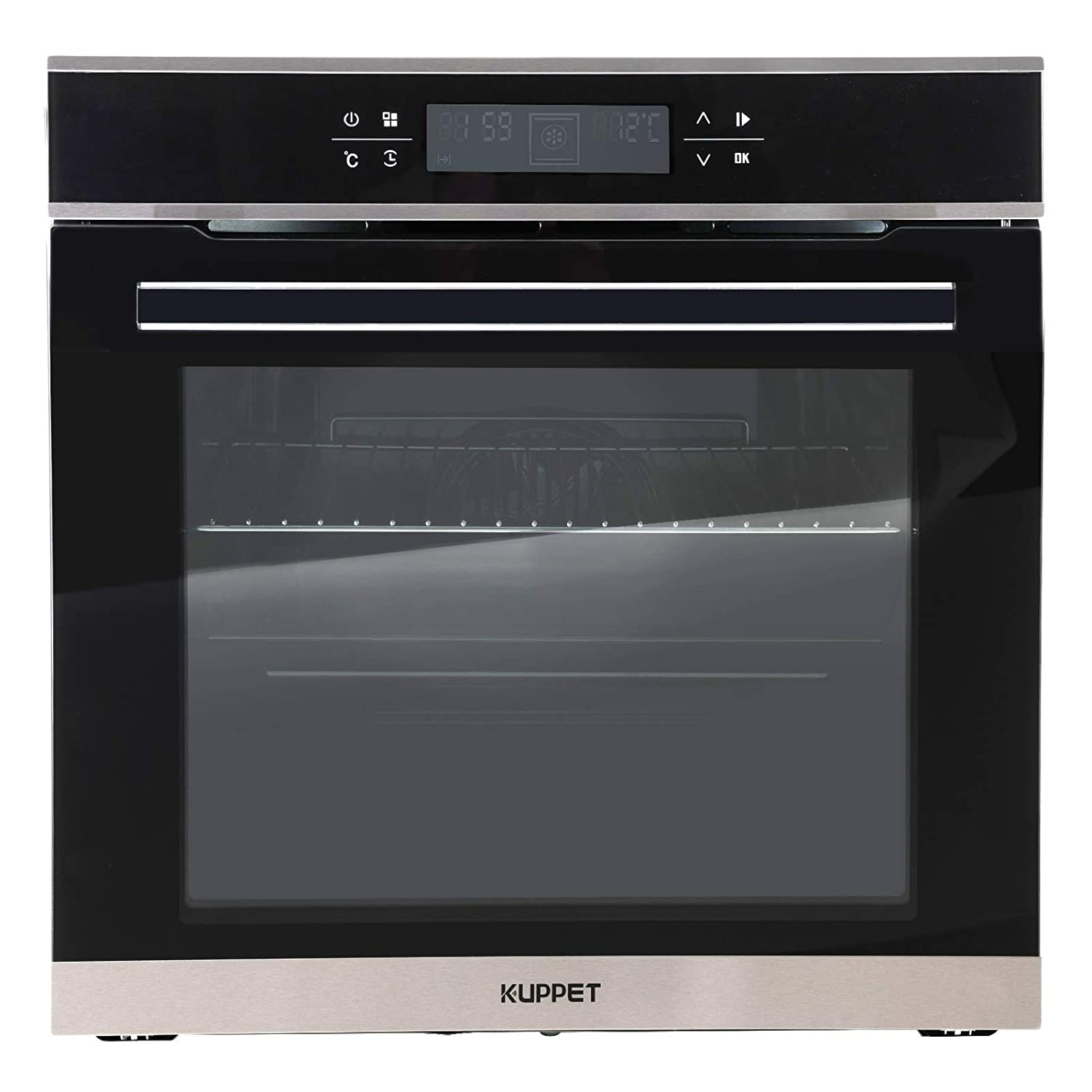 "KUPPET 24"" Electric Single Wall Oven with 10 Functions, Tempered Glass, Digital Display, Touch Controls, Built-In or Under-Couter, Faster Cooking Convection E750200-H1"