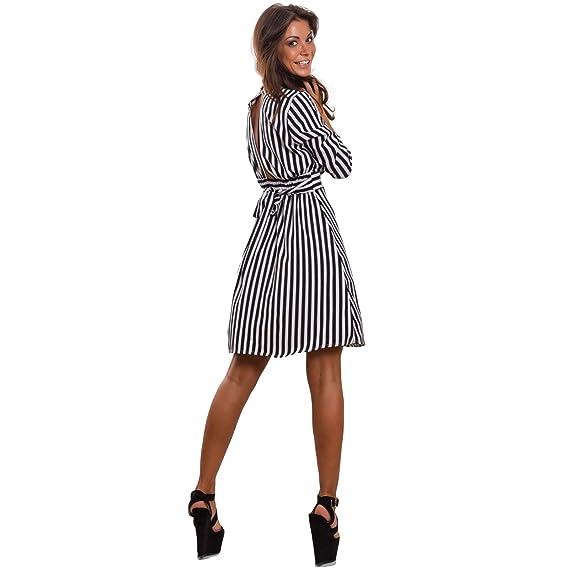 a4c75706aea0 Toocool - Vestito Donna Mini Abito Midi Optical Righe Elegante Scollato  Sexy JL-86030  Taglia Unica