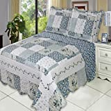 Egyptian Bedding 7 Piece Brea FULL Oversize Super Luxurious Wrinkle Free Coverlet / Quilt Bedding Ensemble Set with Pillow Shams and Bonus Bed Sheet Set which includes Flat and Fitted Sheets with Pillow Cases