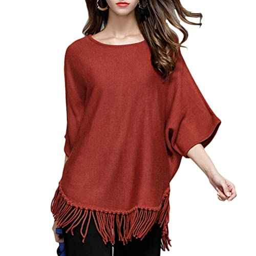 Zhhlaixing Suéter hermoso Womens Bat Sleeves Knitting Sweater Shirt Tops Tassel Hem for Fashion