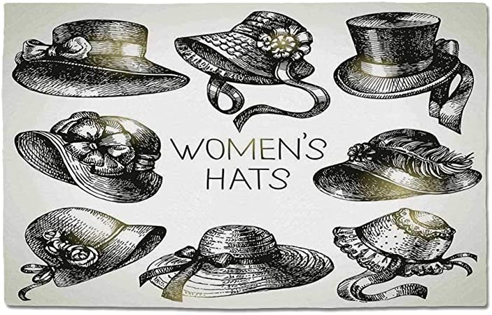 Yoliyana Victorian Decor Durable Door Mat Collection Of Vintage Woman Hats And Retro Fashion Catalogue Female Old Headdress Image For Home Office One Size Amazon Co Uk Garden Outdoors