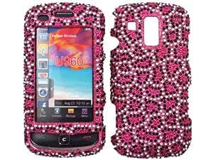 Leopard Hot Pink Bling Rhinestone Faceplate Diamond Crystal Hard Skin Case Cover for Samsung Rogue U960