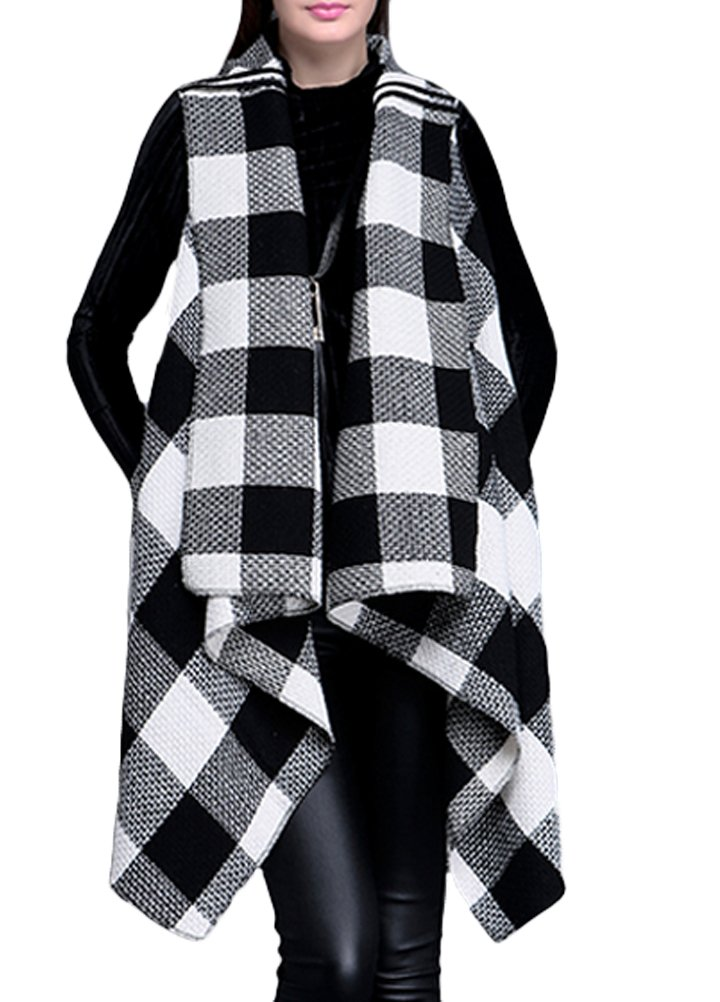 Minibee Women's Irregular Hem Sleeveless Plaid Vest Jacket Style 1 Black