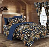 king camo quilt - The Woods Navy Blue Camouflage King 8pc Premium Luxury Comforter, Sheet, Pillowcases, and Bed Skirt Set by Regal Comfort Camo Bedding Set For Hunters Cabin or Rustic Lodge Teens Boys and Girls